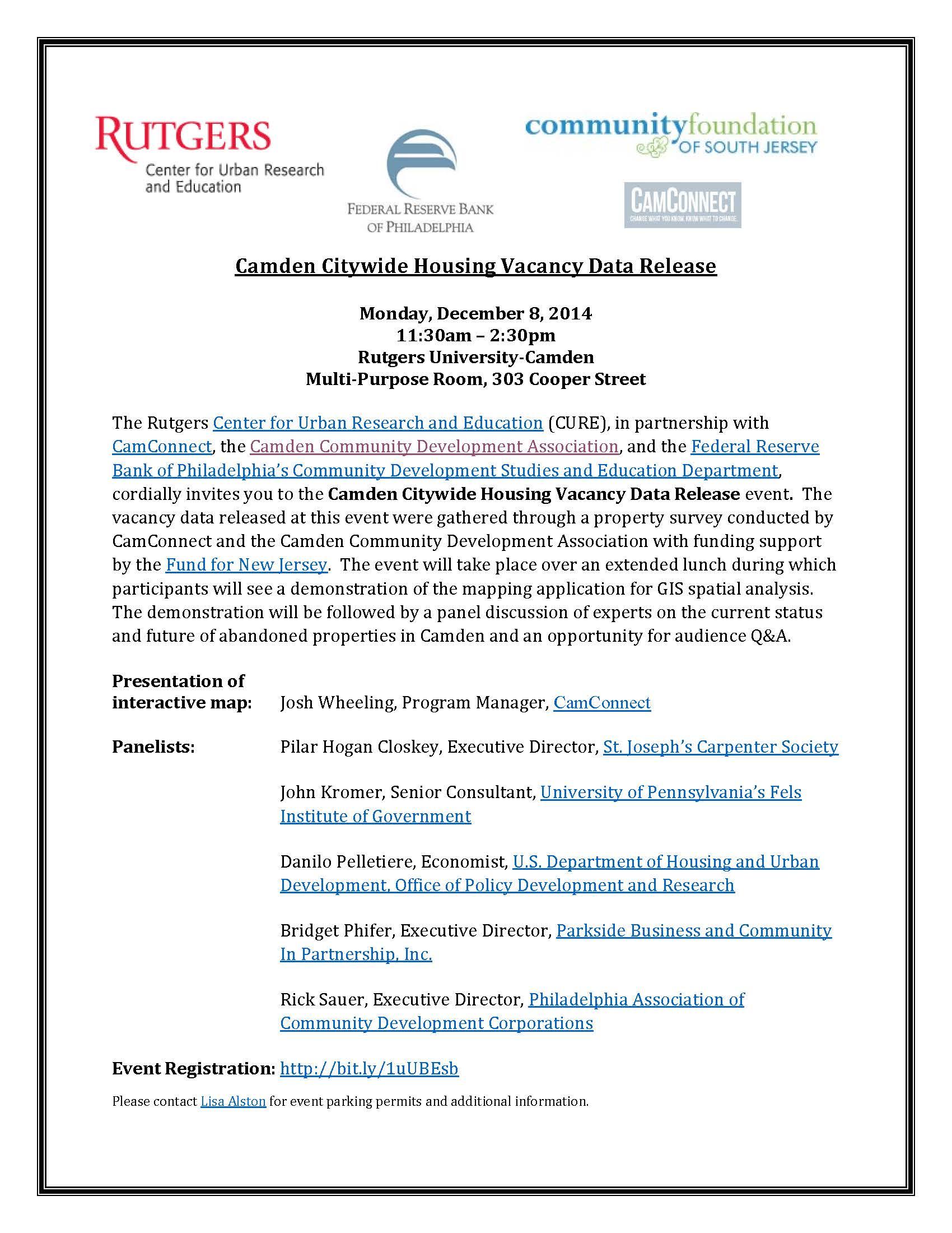 Camden Citywide Housing Vacancy Data Release event