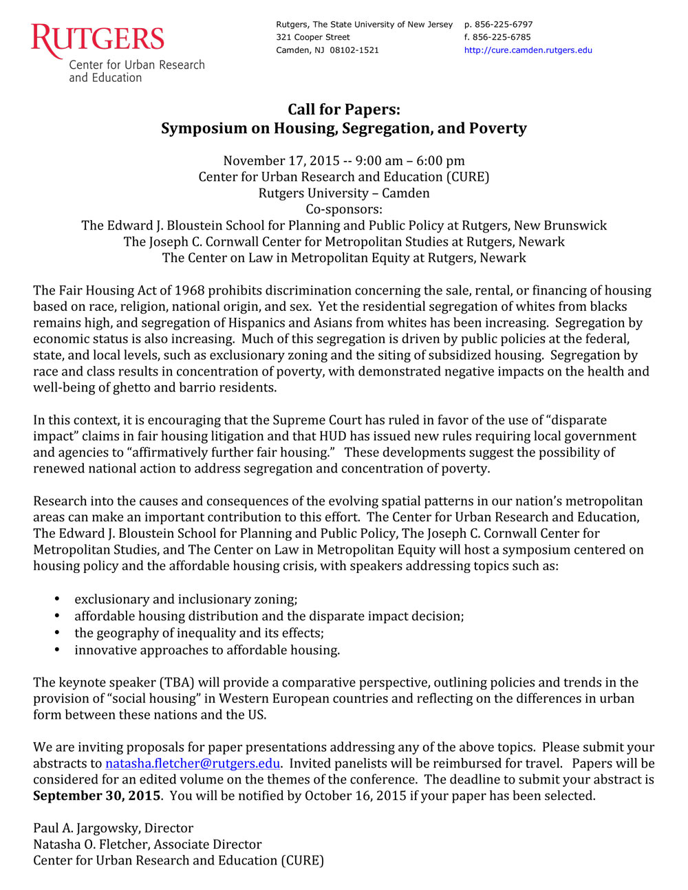 CFP Housing Symposium Call for papers - Click to read PDF