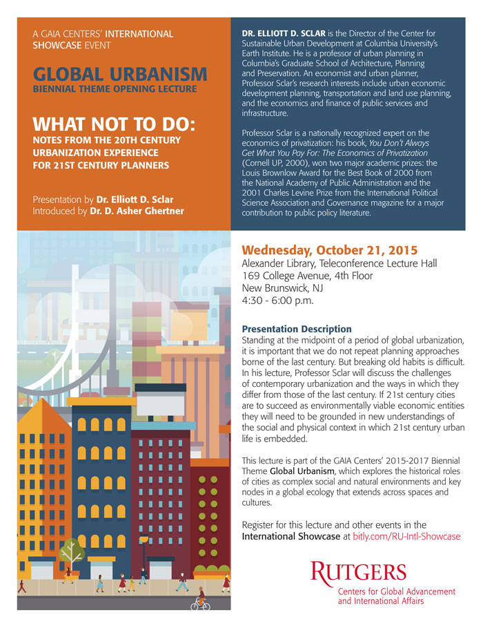 Click flyer for details on the Global Urbanism Lecture